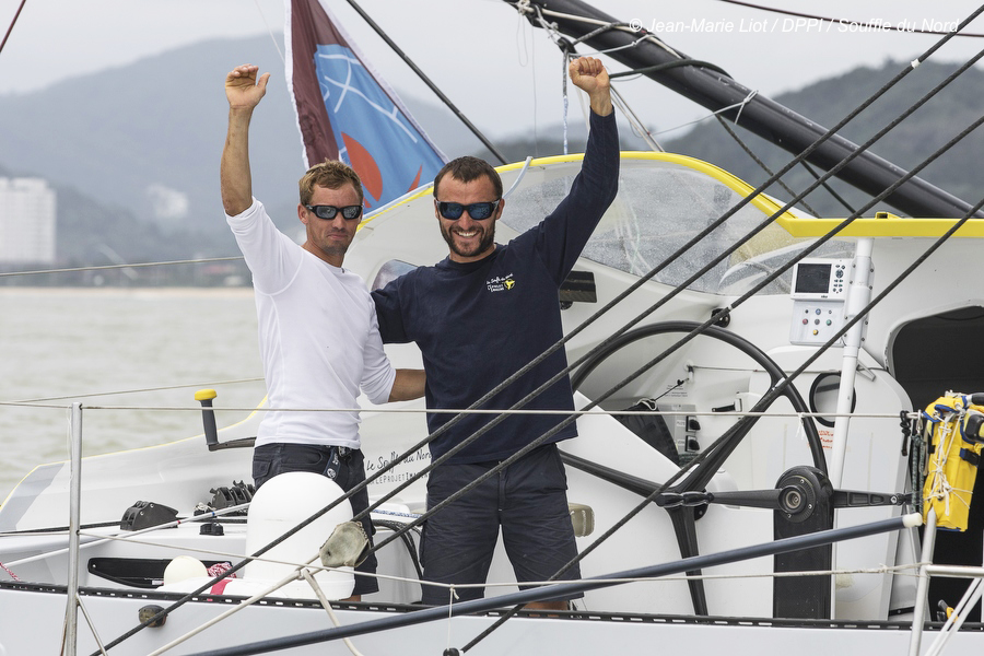 IMOCA Le Souffle du Nord, skippers Thomas Ruyant (FRA) and Adrien Hardy (FRA), 4th place in IMOCA category celebration, during the Transat Jacques Vabre sailing race arrivals on november 12, 2015 in Itajai, Brazil - Photo Jean Marie Liot / DPPI / SOUFFLE DU NORD